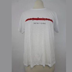 Rag & Bone New York Womens White Logo Tee Medium